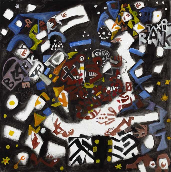 Wonga Mancoba, Untitled (Taxi rank), 2009, Offset on canvas 80 x 80cm © STEVENSON