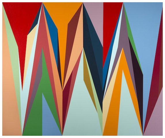 Odili Donald Odita, Accelerator, 2014, Acrylic on canvas 127 x 152.5cm © Odili Donald Odita. Courtesy Stevenson, Cape Town/Johannesburg. Photo: Mario Todeschini