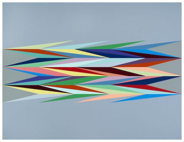 Odili Donald Odita, Super Charge 4 2014 Acrylic on canvas 51.2 x 66.7cm © Odili Donald Odita Courtesy Stevenson, Cape Town/Johannesburg Photo: Mario Todeschini