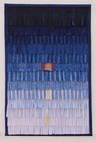 Composition: No.15 (Bleu-Jaune) 2014. Textile 206x134 cm