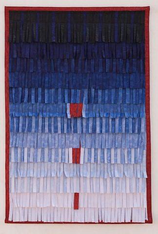 Composition: No.16 (Bleu Rouge) 2014. Textile 206x136 cm © Abdoulaye Konaté