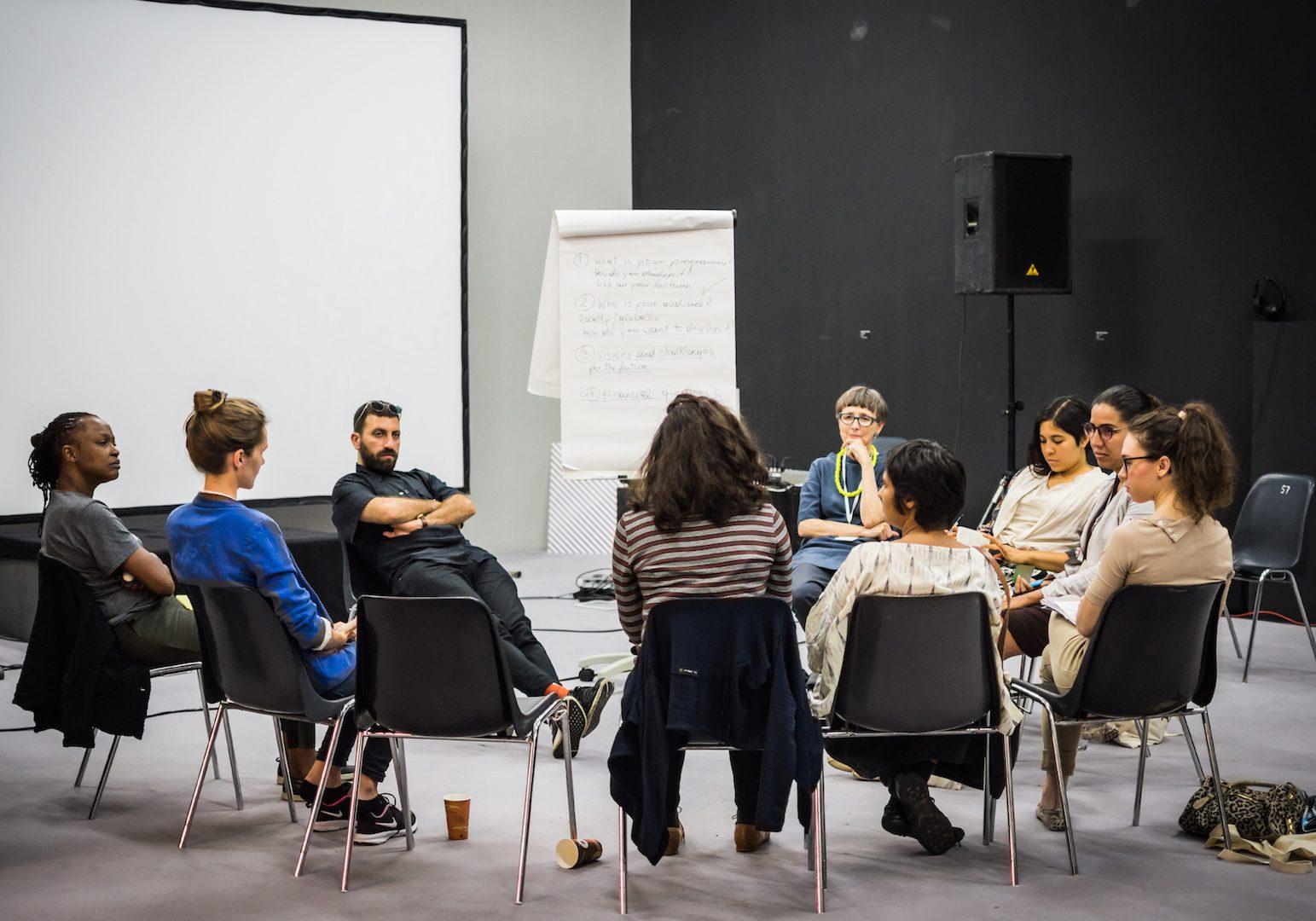 International Summer Academy Salzburg: Global Academy, Künstlerhaus Salzburg. Hildegund Amanshauser, Ahmet Öğüt, Koyo Kouoh, Diana Campbell Betancourt and Participants. Courtesy of the International Summer Academy Salzburg: