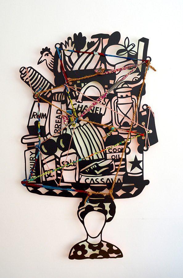 Toyin Loye, Nigeria. 'Mobile Shop', 2014. Aluminium découpé et peint, édition 25. Courtesy ARTCO Gallery