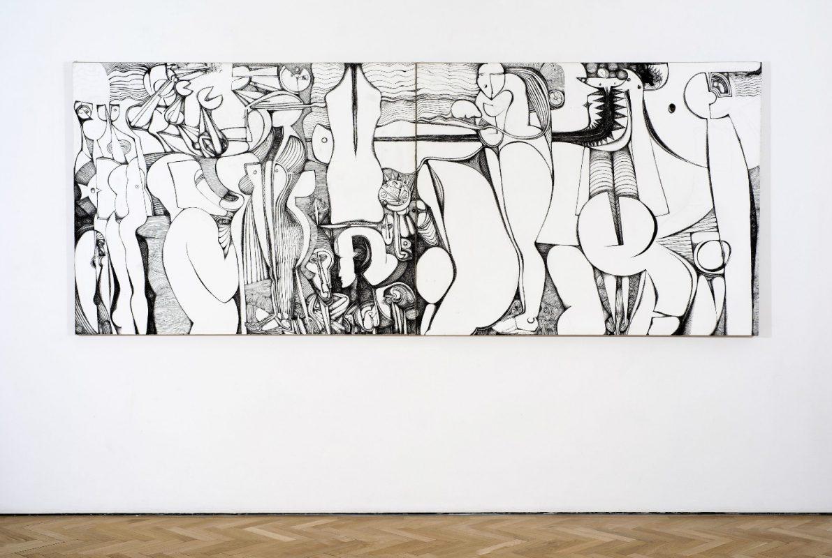 Ibrahim El-Salahi, Reborn Sounds of Childhood Dreams III, 2015, Pen and ink, 154 x 122 cm / 60 5/8 x 48 in. Image courtesy Vigo Gallery